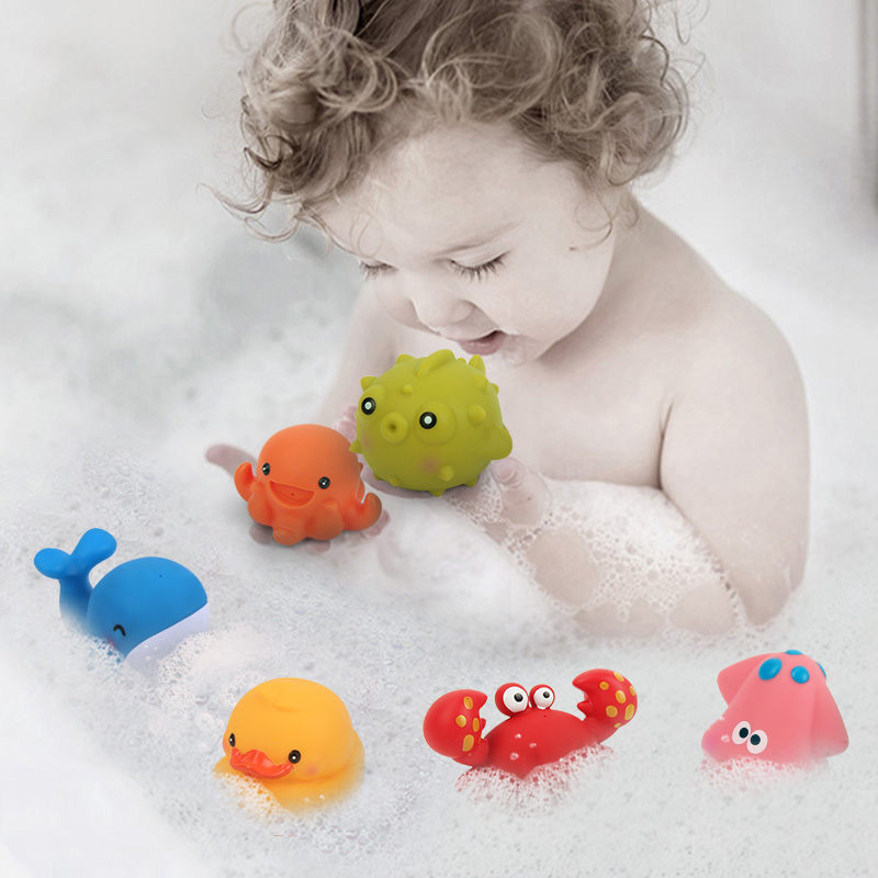 6pcs set Bath Toy Sea Animals Swimming Water Toys Mini Colorful Soft Floating Rubber Duck Squeeze Sound Funny Gifts For Baby Kid in Beach Sand toys from Toys Hobbies