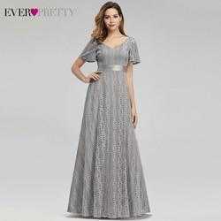 Серые Цветочные кружевные вечерние платья для женщин Ever Pretty EP00989GY А-силуэт v-образный вырез Элегантные Формальные платья Robe De Soiree Sirene 2019