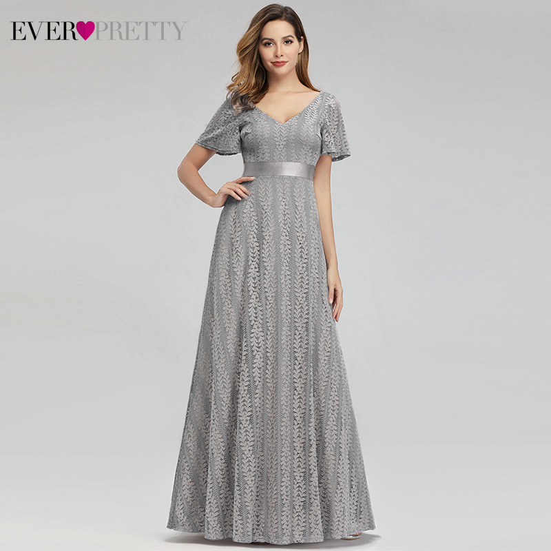 Grey Floral Lace Evening Dresses For Women Ever Pretty EP00989GY A-Line V-Neck Elegant Formal Dresses Robe De Soiree Sirene 2019