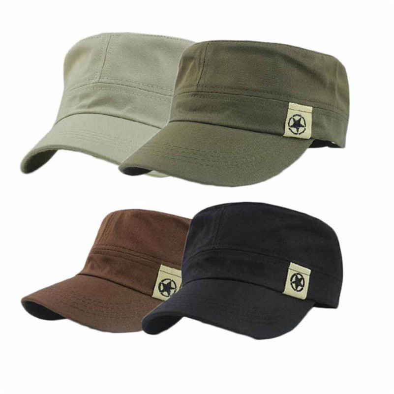 Men Hat Unisex Women Flat Roof Military Hat Cadet Patrol Bush Hat Useful Outdoor Sports Baseball Field Cap Snapback Casual Cap#D