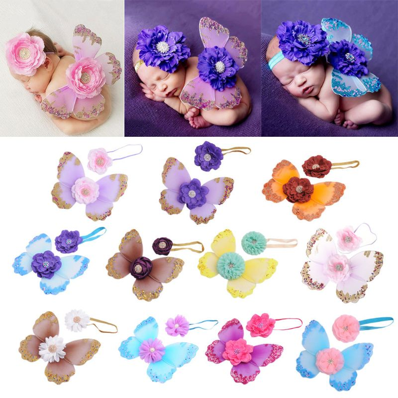 Newborn Photography Props Headband Butterfly Wings Baby Girls Boys Fairy Photo Costume Accessories Gifts D08C
