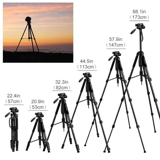 "K&F Concept Portable Tripod 70""/177cm Travel Tripod Outdoor Compact Aluminum Video Camera Tripod Monopod with 3-Way Swivel Pan"