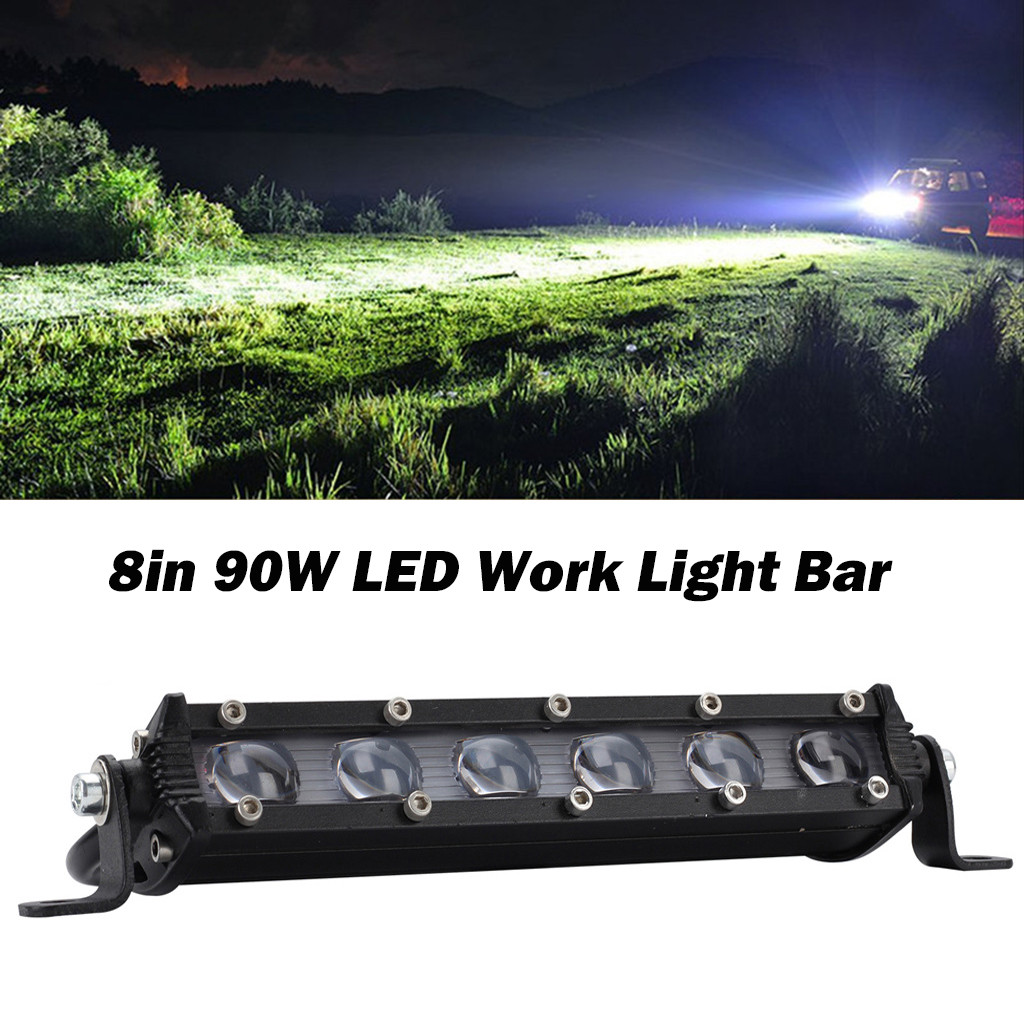 8in 90w Led Work Light Bar Led Headlight Lens Offroad Ip67 Waterproof Rate 4wd Suv Driving Fog Lamp 6-pack 15w Led#LR3