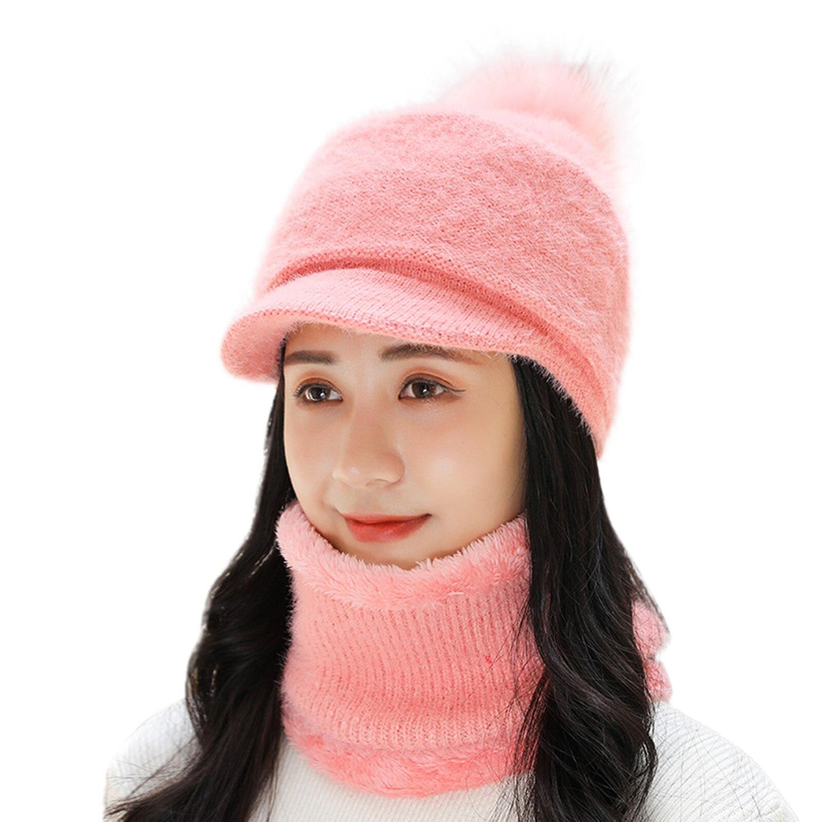 Winter Adult Woman Pompon Hat Winter Warm Knit Solid Color Crochet Visor Cap Scarf Outdoor High Bun Cap Neckerchief Set #YJ
