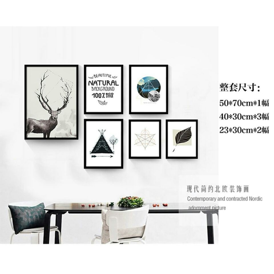 Northern European-Style Modern Minimalist Abstract English Deer Black And White Art Entrance Living Room CHILDREN'S Room Decorat