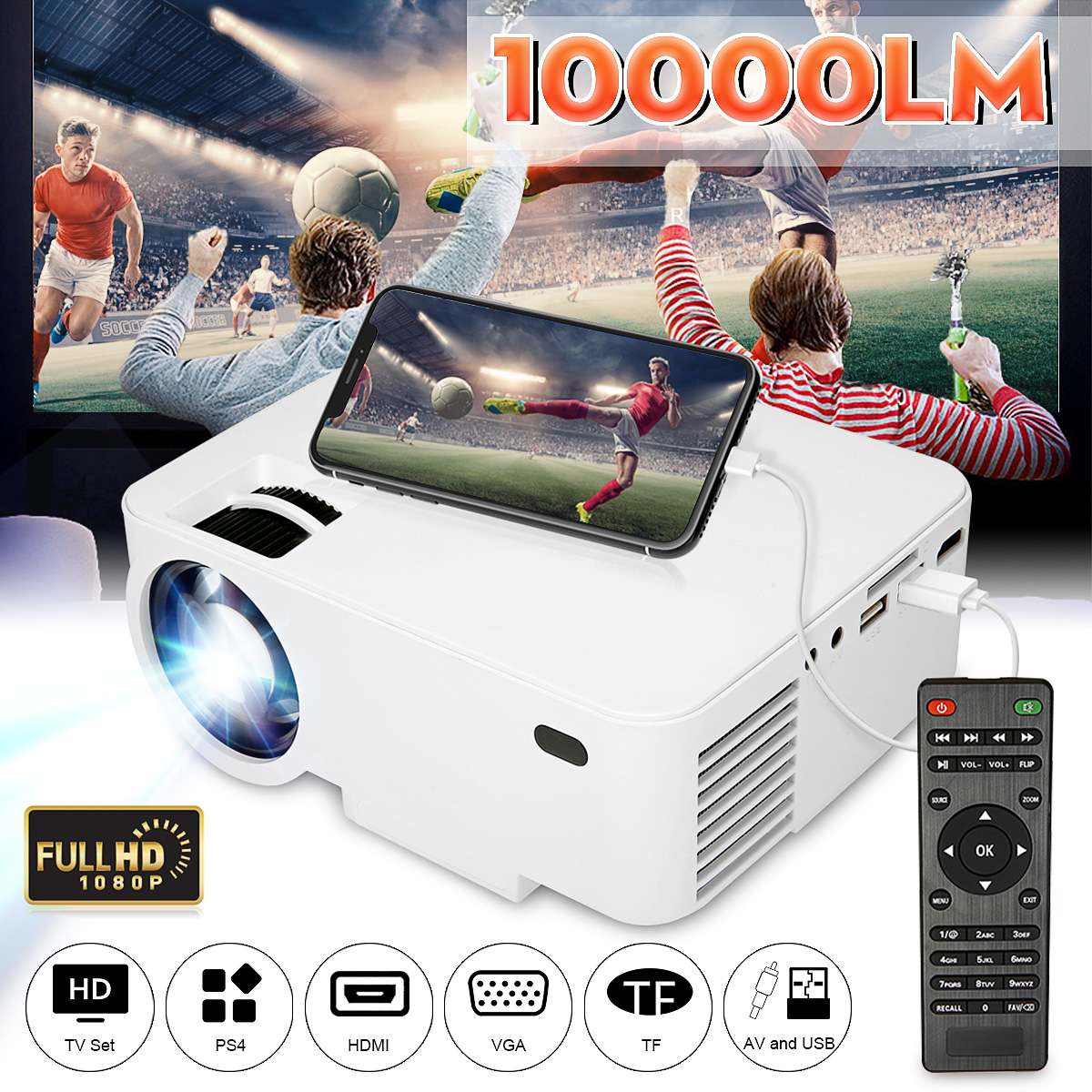 10000LM WIFI Projector 1080p HD Portable LCD Wireless Mini Video Projector for Home Cinema For iPhone/Android Phone + Remorte