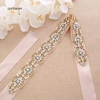 Wedding Belt Gold Rhinestones Wedding Sash Crystal Flower Bridal Sash For Bridal Bridesmaid Dresses J190G