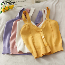 Heliar Women Knitted Crop Tops Button Up V-Neck Sleeveless Straps Tops Sexy Casual Camis Cute Crop Tops For Women Summer 2021