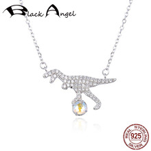 Original 925 Sterling Silver CZ Lovely Animal Dinosaur Austria Crystal Pendant Necklaces for Women Fine Jewelry real 925 sterling silver alphabet o zircon pendant necklaces for women cz geometric wedding fine jewelry