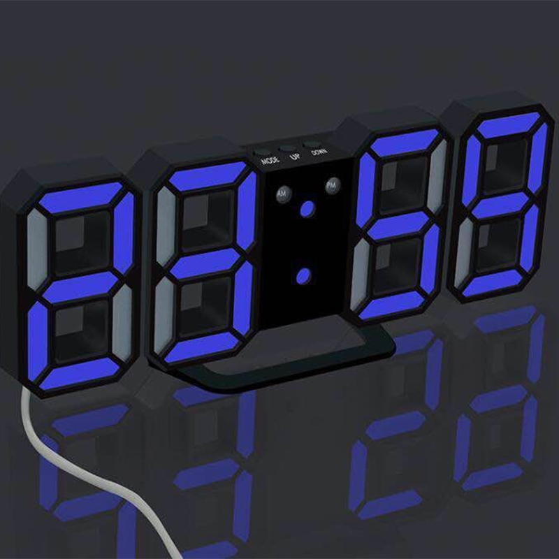 3D LED Digital Wall Clock Snooze Bedroom Desk Alarm Clocks Hanging Wall Clock Calendar Thermometer Home Decor Gift