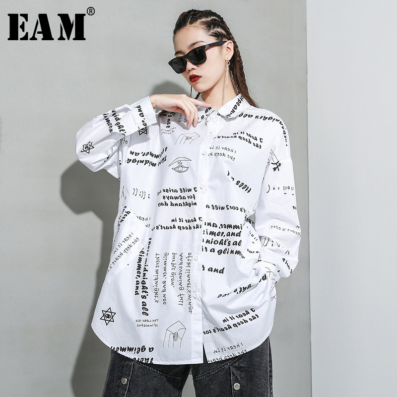 [EAM] Women White Letter Printed Big Size Blouse New Lapel Long Sleeve Loose Fit Shirt Fashion Tide Spring Autumn 2020 1R935