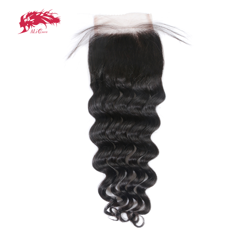 Ali Queen Natural Wave Brazilian Remy Human Hair Lace Closure Natural Color 10