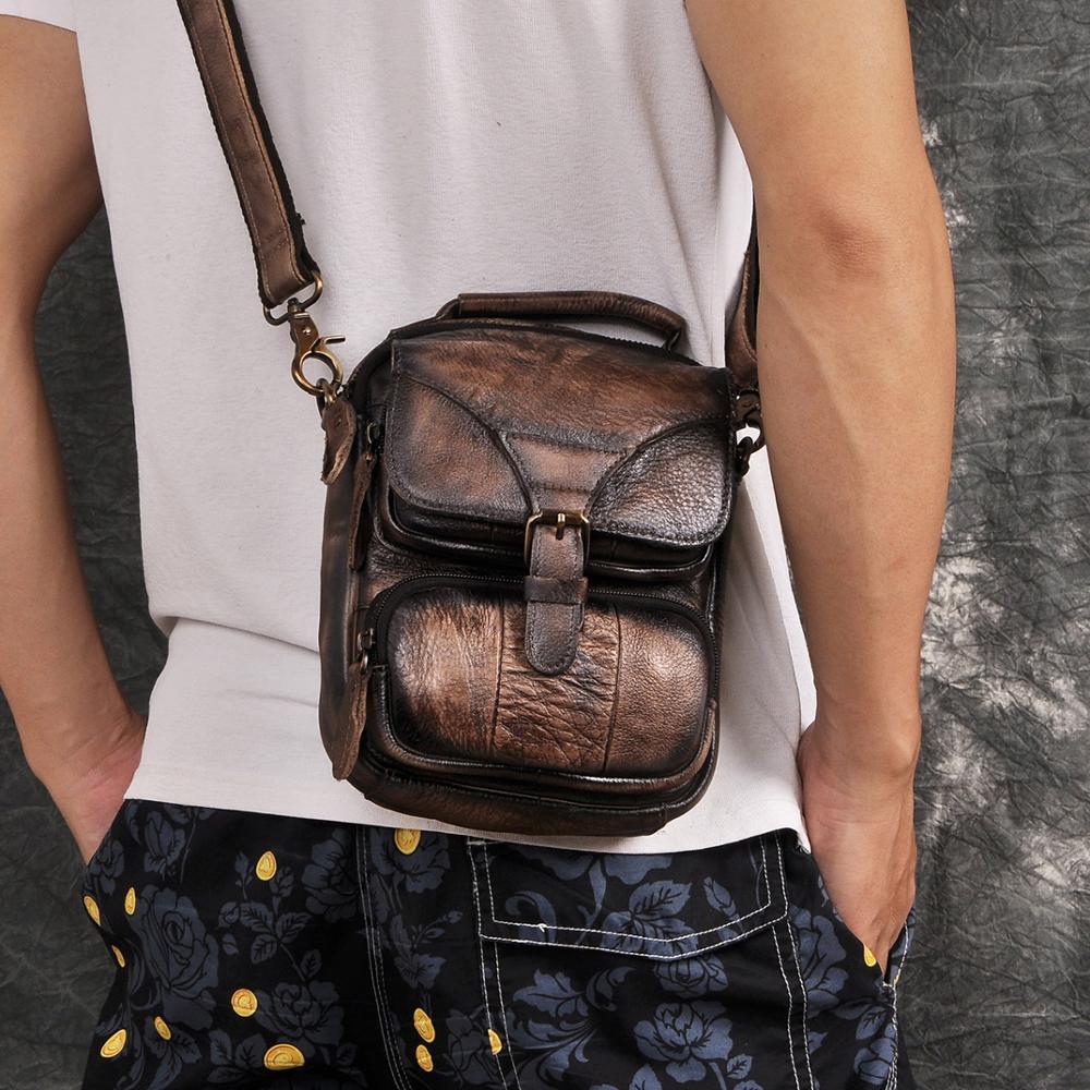Leather Men Multifunction Casual Fashion Shoulder Messenger Crossbody Bag Designer Mochila Waist Belt Pack Tablet Pouch 2074-db