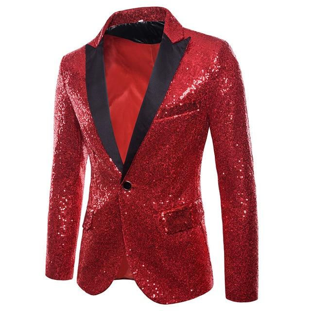 venta caliente online 19bf1 2f8b8 Chaqueta de club nocturno lentejuelas rojas para hombre, traje chaqueta,  cantante, brillo, solapa con pico, ropa ajustada escenario Graduación
