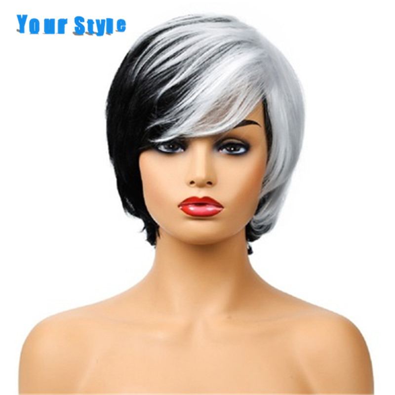 Your Style Synthetic Short Wigs Women White Black Color Cosplay Wigs With Bangs Girls High Temperature Fiber