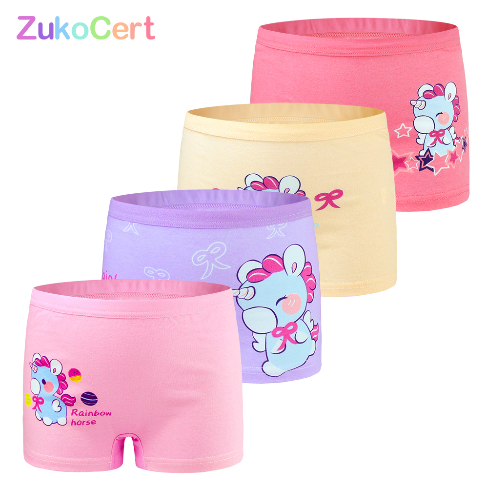 4 Pcs/lot Children Girls Underwear Kids Boxer Briefs Child Soft High Quality Soft Cotton Girls Panties Breathable For 2-12Y