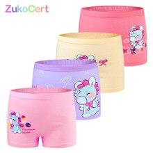 4 pçs/lote crianças meninas roupa interior crianças boxer briefs criança macio de alta qualidade algodão macio meninas calcinha respirável para 2-12y