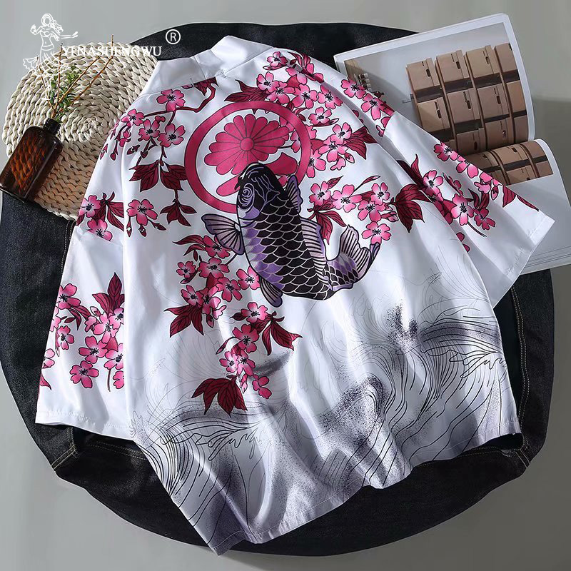 Women Harajuku Cardigan Japanese Kimono Summer Carp Print Loose Shirt Tops Casual Woman Man Kimonos Coat Couple Yukata Kimonos(China)