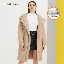 Winter 90% white duck down jacket 2019New women's warm jacket hooded coating PU women's jacket down robes Doudoune Femme XL недорого