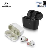 Alien Secret QCC010 TWS Wireless Earphone Deep Bass aptX Bluetooth Headphone Wireless Charging Sport Earbuds For Xiaomi Iphone
