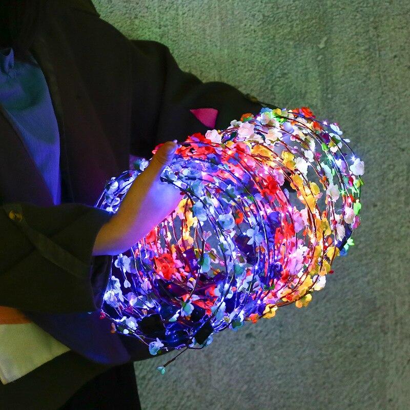 SALES Party Crown Flower Headband LED Light Up Hair Wreath Hairband Garlands Women Halloween Christmas Glowing Wreath
