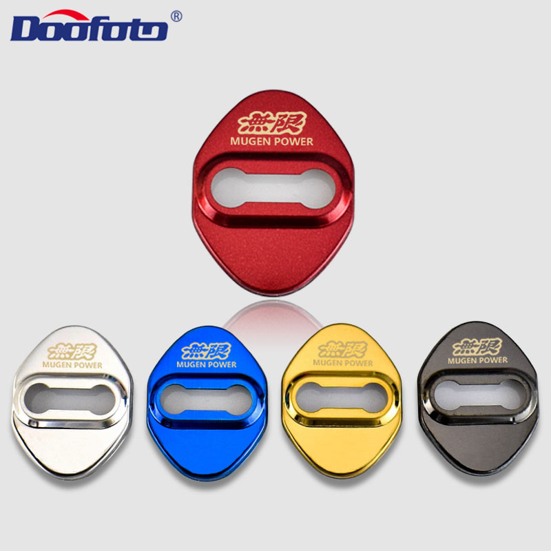 Doofoto 4x Car Door Lock Cover For Honda Mugen Power Civic Accord CRV Hrv Jazz Accessories Protective Cover Car Styling Emblems