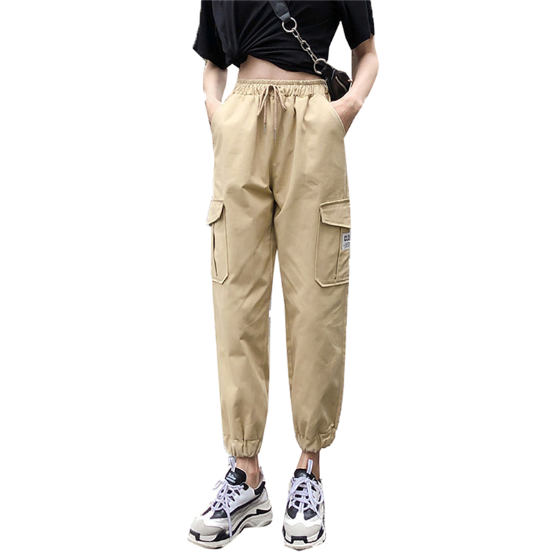 Women's Cargo Pants Casual Outdoor Solid Color Elastic High Waist Baggy Jogger Pants With Pockets Cool Workout Long Trousers