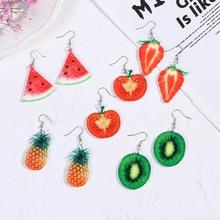 لطيف الفاكهة سيدة أقراط الفراولة الأناناس الطماطم الكيوي البرتقال الخيار التفاح الأناناس فتاة الفاكهة أقراط
