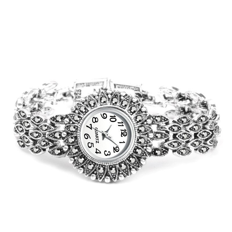2019 New Fashion Antique Silver Bracelet Quartz Wristwatch Women's Watches Luxury Lady Dress Watches Quartz-Watch Montre Femme