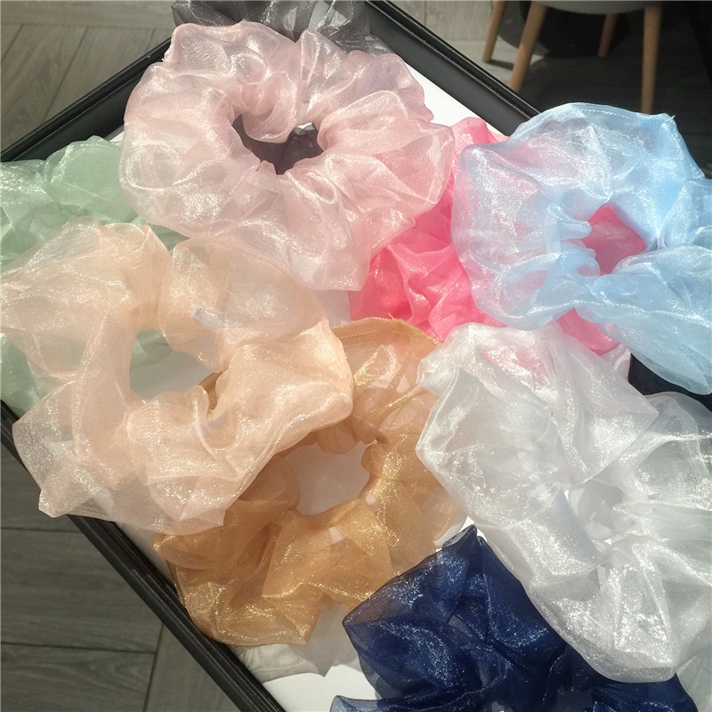 New Women Fantastic Shining Organza Big Hair Scrunchies Solid Plain Hair Gums Elastic Rubber Bands Vintage Bohemian Hair Ties