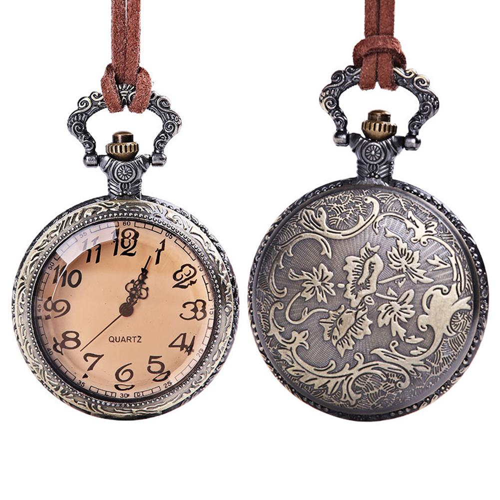 Vintage Pocket Watch Clock Unisex Retro Emboss Round Dial Arabic Number Faux Leather Chain Quartz Pocket Watch Women Men Gift