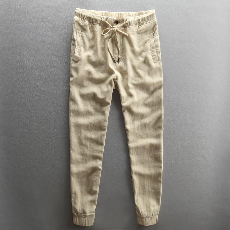 2019 Summer Men Casual Linen Pants Slim Fit Thin Straight-Cut Korean-style Skinny Cotton Linen Breathable Men's Trousers-Nocturn