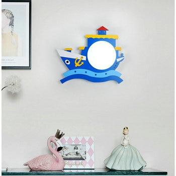 Mediterranean Home Decoration Wood Wall Sconces AC 90V-AC260V Kids Baby Children Blue Wall Lamp for Bedroom Home Interior Light