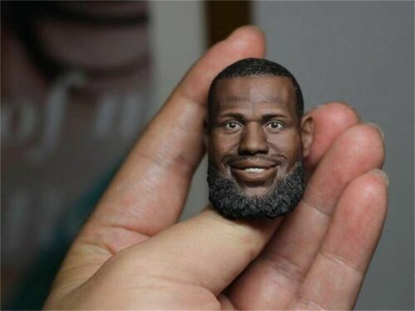 <font><b>1/6</b></font> Scale Soldier Lebron James Black <font><b>Bearde</b></font> Head Model Carved Fit 12'' Body Figure Toy image
