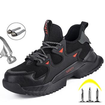 Odblaskowe męskie buty ochronne buty do pracy stalowe buty z palcami przeciwzmarszczkowe bezpieczeństwo pracy buty budowlane buty robocze męskie buty buty tanie i dobre opinie LINLING Pracy i bezpieczeństwa CN (pochodzenie) Mesh (air mesh) ANKLE Stałe Dla dorosłych Cotton Fabric Okrągły nosek