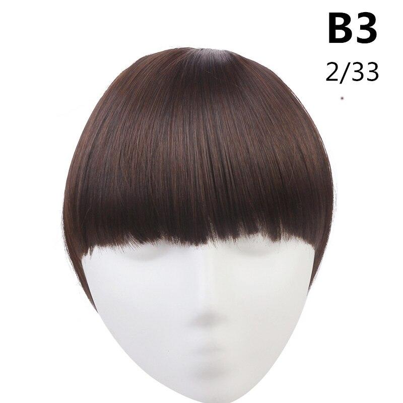 SARLA волосы челка клип в подметание боковая бахрома поддельные накладные взрыва натуральные синтетические волосы кусок волос черный коричневый B2 - Цвет: 2-33