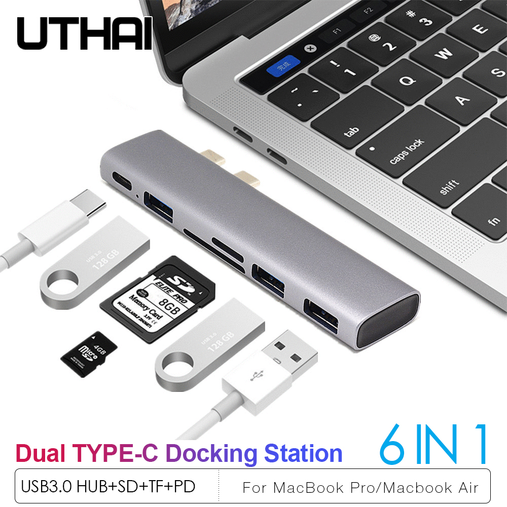 UTHAI J12 Double Type-C Adapter For MacBook Pro Air  USB3.0 HUB SD TF Multi Card Reader PD Docking Station USB-C 6 In 1 HUB