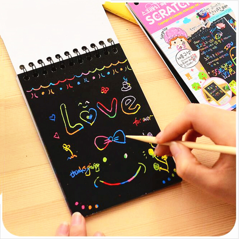 1PCS  Mini Drawing Books Scratch Color DIY Coil Graffiti Book With Pen  Blank Black Sketch Book For Kid Book