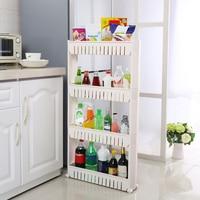 practical Tight Shelf 4 Floors on Castors 54 cm x 12 cm x 101 cm White Plastic home organizer and storage kitchen organizer HWC