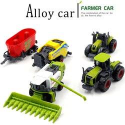 Mini Alloy Metal + ABS Alloy Farm Trucks modele Farmer Car odlewane pojazdy zabawkowe kukurydza ryż kombajny traktory spychacze dzieci
