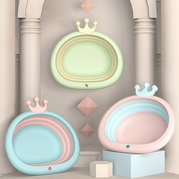 Przenośne składane wiadro umywalki wanna akcesoria łazienkowe plastikowe umywalki ekologiczne składane wanienki dla niemowląt tanie i dobre opinie 32cm2 Z tworzywa sztucznego Portable Basins 32 cm Zaopatrzony Nieprzezroczyste Blue Pink Yellow 34x33cm 450g PP+TPE