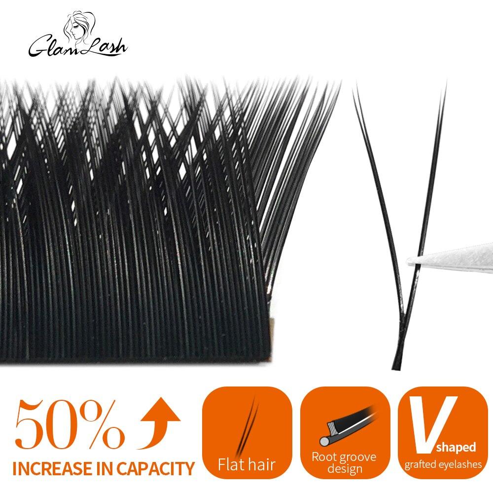 GLAMLASH  V Shape Auto-Fans 2D YY Eyelash Extension Soft Ellipse Flat Split Tips Premade Volume Premium Individual false Lashes
