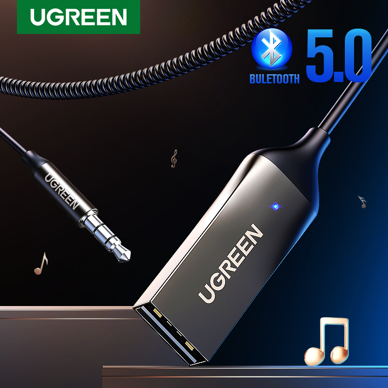 Адаптер громкой связи UGREEN Bluetooth 5,0 беспроводной Bluetooth-приемник 3,5 мм AUX музыкальная навигация потоковый микрофон для звонков в автомобиле