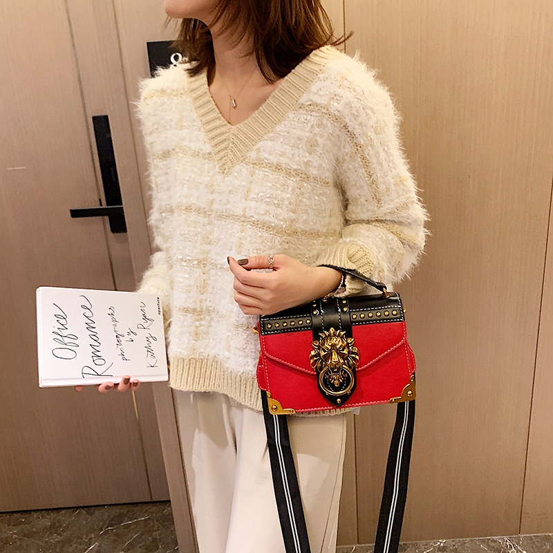 H583321bf8542458fbf257c3b49dae0f8n - Female Fashion Handbags Popular Girls Crossbody Bags Totes Woman Metal Lion Head  Shoulder Purse Mini Square Messenger Bag