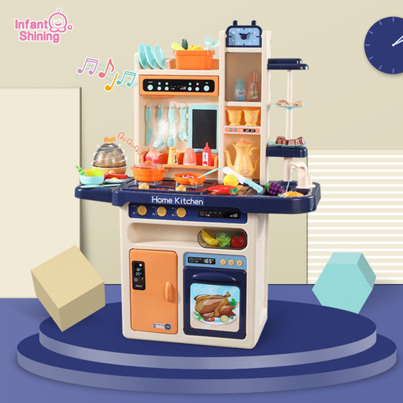 Infantile brillant 93cm enfants cuisine jouets 65 pièces semblant jouer Simulation cuisine enfants cuisine jouets 2-4 ans cuisine ensemble de jouets