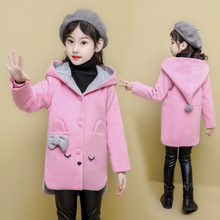 2019 Girls Winter  Coats Jacket Children Winter High quality Solid Long sleeve Wool coat Girls rabbit print Outwear For 3 4 6 8 winter jacket for girls thickening long coats big children s clothing 2017 girl s jacket outwear 4 11 year