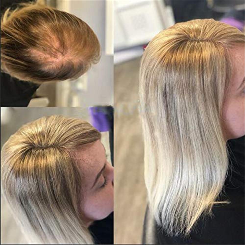 BYMC 4*5cm Ombre Blonde Hair Toupee Woman Top Piece European Remy Hair One Piece Hair Topper Mono Clip Wig For Less Hair Women