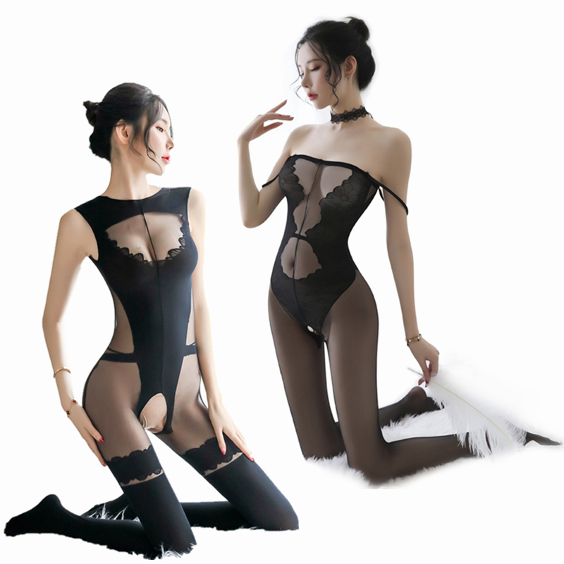 Sexy Transparent Body Stockings For Women Erotic Open Crotch Teddy Lingerie Baby Dolls Porn Sex Underwear Nightwear