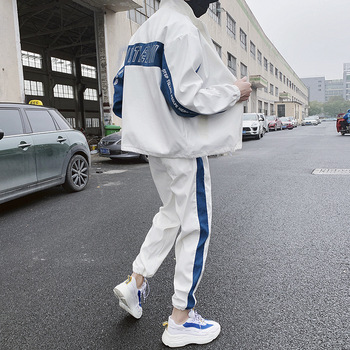 Fashion Hip Hop 2 Pieces Set Mens Casual Letter Print Suits Loose Stand Collar Sweatshirts Men Jacket Pants Sets Ropa Hombre BE 2019 spring hip hop clothes fashion letter printing tops light green pants suits female casual loose 2 piece sets