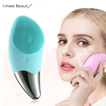 Facial Cleansing Brush Electric Silicone Face Cleansing Brush Sonic Vibration Face Massage Pore Skin Deep Cleansing Beauty Tool фото